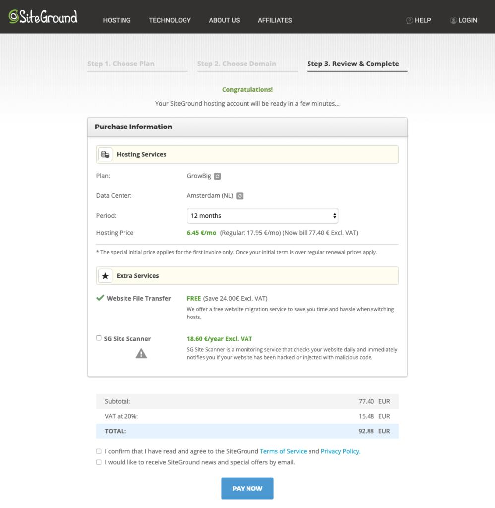 siteground hosting registration
