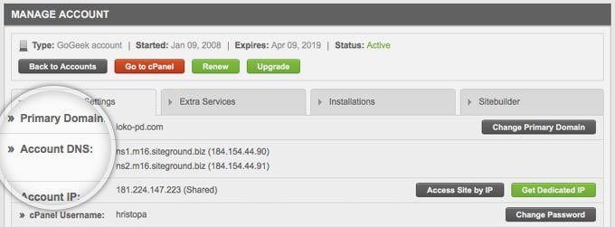 siteground hosting domain setup